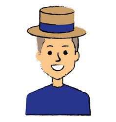 young man with hat avatar character vector image