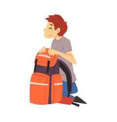 Young man with hiking backpack going to put up vector