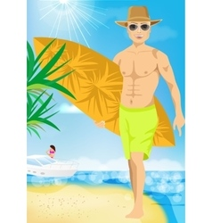 young surfer with his board on the beach vector image