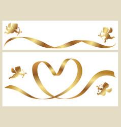 a gold ribbon and cupids vector image vector image