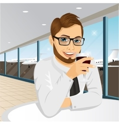 businessman drinking wine in restaurant vector image