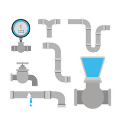 colorful set of pipes plumbing service vector image