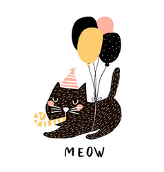 cute cat with balloons hand drawn vector image vector image