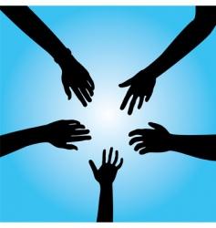five hands vector image vector image