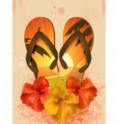 hibiscus flowers and flip flops vector image