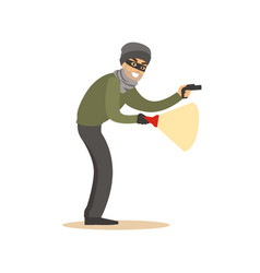 thief in a black mask on the eyes with flashlight vector image vector image