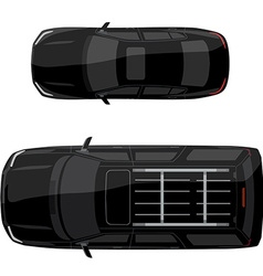 Two black cars vector image