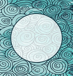 Waves hand drawn pattern frame circle curled vector image vector image