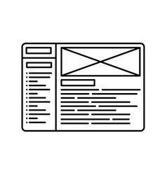 website wireframe line icon outline vector image vector image
