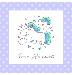 baby greeting card with unicorn vector image vector image