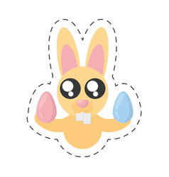 cute bunny with easter eggs - cut line vector image vector image