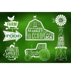 Farm vintage green vector image