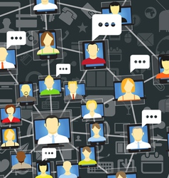 Global social network with talking people vector image vector image