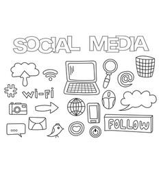 social media elements hand drawn set vector image vector image