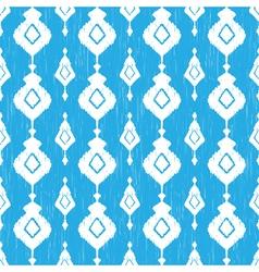 Blue ikat seamless pattern vector image