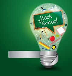 Creative light bulb with back to school concept vector image vector image