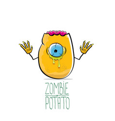 funny cartoon cute orange zombie potato vector image vector image
