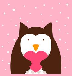 cartoon owl heart vector image vector image