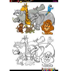 cartoon safari animals coloring book vector image vector image