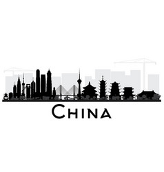 china city skyline black and white silhouette vector image