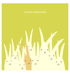 Easter greeting card design with bunnies vector image vector image