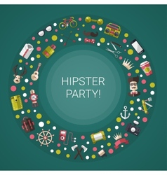 Postcard of modern flat design hipster icons vector image
