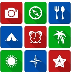 White Travel Icons with Long Shadows Vol 2 vector image vector image
