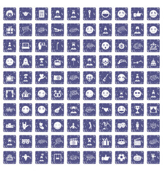 100 emotion icons set grunge sapphire vector image