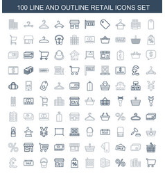 100 retail icons vector