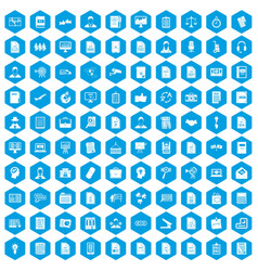 100 work paper icons set blue vector
