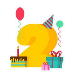 2 year happy birthday greeting card 2th vector image