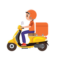 A young boy riding an orange delivery scooter vector