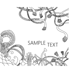 Abstract doodle background in black and white vector image