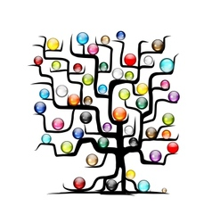 Abstract tree with glossy balls for your design vector image