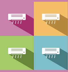 air conditioning icon with shade on colored vector image