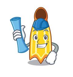Architect swim fin character cartoon vector