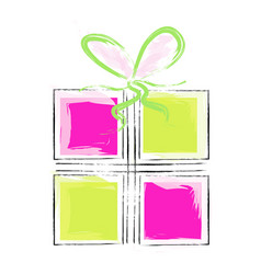 artistic gift box - pink and green colors vector image