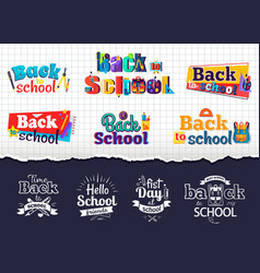 back to school colorful and monochrome stickers vector image