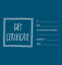 blue textured gift certificate vector image