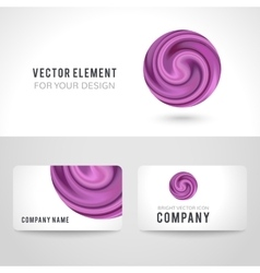Business card template set abstract purple circle vector image