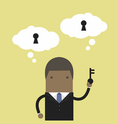 businessman holding key for unlock the idea vector image