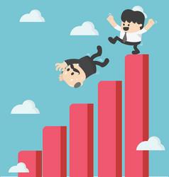 Businessman kick fall from graph vector