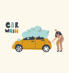 car wash service on auto station concept worker vector image