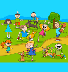 Cartoon kids with dogs in the park vector