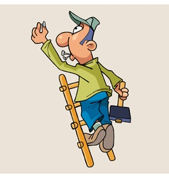 cartoon man standing on a ladder with a hammer vector image