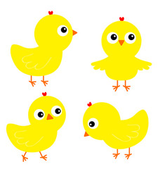 chicken chick bird set face head cute cartoon vector image