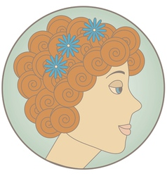 Circle with redhead curly girl inside vector