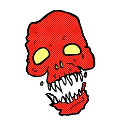 comic cartoon scary skull vector image