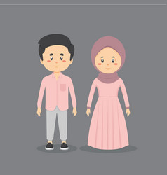 Couple character muslim wearing casual clothes vector
