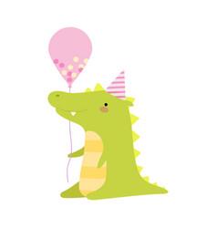 Crocodile with a balloon on a vector